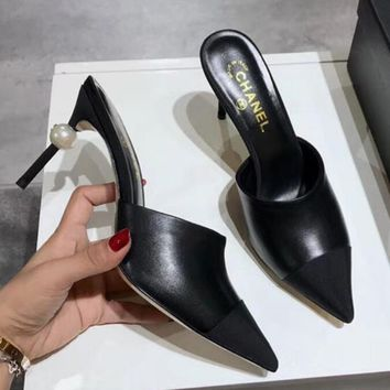 Chanel Popular Women Color Matching Pearl Heel Pointed High-Heeled Sandals Shoes Black I-ALS-XZ