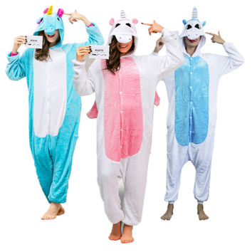 Kigurumi Unicorn Onesuit Adult Pijama Unicornio Onesuits for Adults Women Animal Pajamas Set Footed Pyjamas Mens Costume Sleepsuit