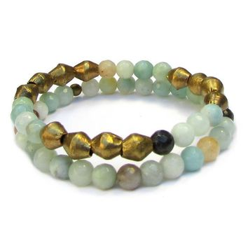 Positivity, Genuine Amazonite Gemstone Mala Bracelet Stack with African Trade Beads