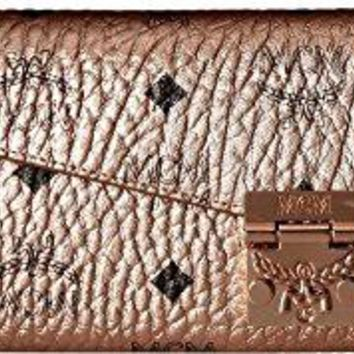 MCM Womens Patricia Visetos Wallet on a Chain Champagne Gold One Size