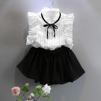 Kids Baby Girls Princess Stripe Shirt Chiffon Culottes Skirt Two Pieces Set Clothes Skirt Suit Girls Clothing Set CT1688