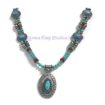 ON SALE! Nuevo Santa Fe, Western Style, Silver and Turquoise, Beaded Beads, Old West, Native American style,