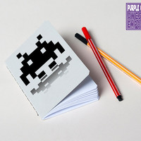 Space invader notebook, handmade journal