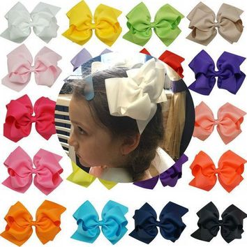 1pc 6 Inch Bowknot Double Layers Solid Grosgrain Ribbon Hairbow Children Girls Hair Bows Clips Hair Accessories Dancing Hairpins