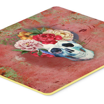 Day of the Dead Red Flowers Skull  Kitchen or Bath Mat 24x36 BB5130JCMT