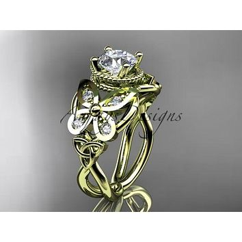 14kt yellow gold diamond celtic butterfly engagement ring One Moissanite CT7136