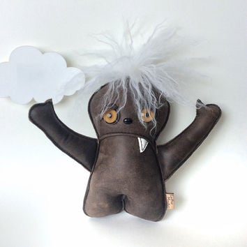 Creepy cute art doll,  Leather Worry Sad Monster, Plushie toy for kids, for her, Brown Leather Orange Cat eyes