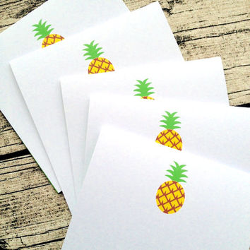 5 pineapple wedding invitations, pineapple wedding invitation card set with envelopes, wedding invitation green inserts