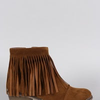 Breckelle Suede Fringe Round Toe Cowgirl Ankle Boots
