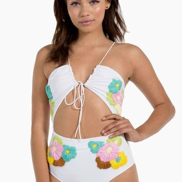 Smitten Cut Out One Piece Swimsuit - Blooms White