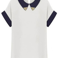 ROMWE | White Lapel Short Sleeve Metal Embellished Tshirt, The Latest Street Fashion