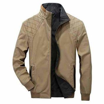Mens Outdoor Double Wear Stand Collar Utility Jacket Big Size Spring Autumn Cotton Coat
