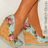LADIES CORAL PINK MINT GREEN FLORAL CORK SUMMER WEDGES COURT SHOES HIGH HEELS