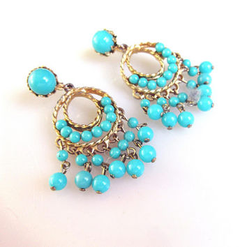 Turquoise Blue Chandelier DangleClip On Earrings Vintage Collectible Gift Item 2423