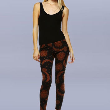 Black and Brown Sun and Moon Celestial Leggings