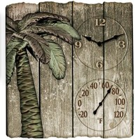 "Springfield 12""x13"" Palm Tree Poly Resin Clock with Thermometer"