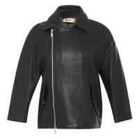 No. 21 Carla Leather Biker Jacket Black