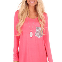 Coral Sequin Pocket Long Sleeve Top