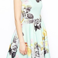 ASOS PETITE Mint Floral Bardot Skater Dress - Mint