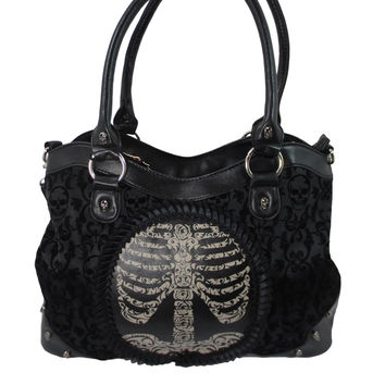 Banned Black Goth Steampunk Flocked Ribcage Skeleton Cameo Handbag Shoulder Bag