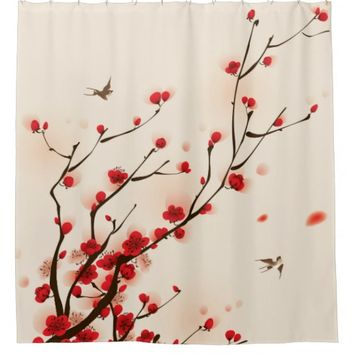 Oriental Style Painting Plum Blossom in Spring Shower Curtain