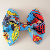 Comic Fabric bow - Girl super hero hair clips