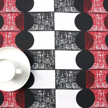 Tablecloth white black rounds red black small lines abstract table cloth , table runner , napkins , pillow , curtain available, great GIFT
