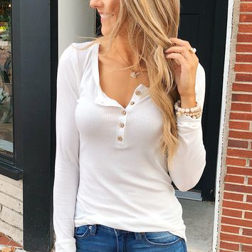 Essential 5-Button Henley Top- Off White