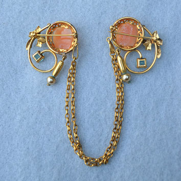 Double Carved Shell Cameo Gold Filled Chatelaine with Blue Stones Vintage