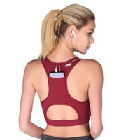 Women Sport Bra Back Pocket Running Yoga Tops