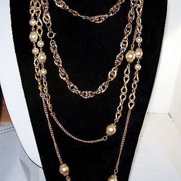 CIJ Sale Trifari Gold Pearl Necklace Long Chains 62 inch Key Hang Tag 1960s Vintage