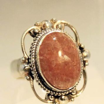 Sterling Silver Victorian Lace Ring with Sunstone