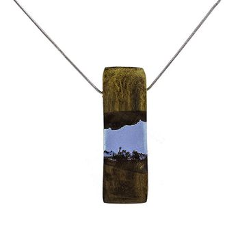 Fashion Natural Wooden&Resin Pendants Men Jewelry Necklaces &Pendants Long Leather Chain Necklace For Women Cuboid Choker