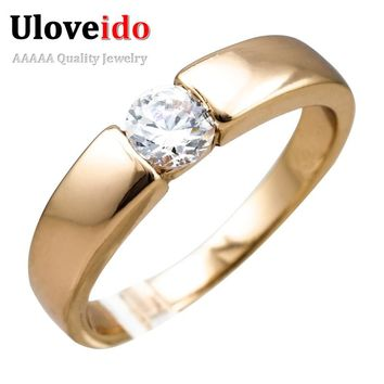 Uloveido 15% off Ring Rose Color Color Jewelry Gifts for Women Men Engagement Jewelry Men's Silver Color Rings with Stones J002