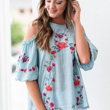 Worth Some Romance Top, Light Blue