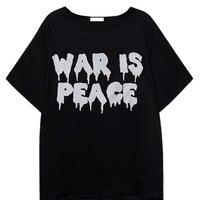 Anti-War Letter Print Short Sleeve T-shirt - OASAP.com