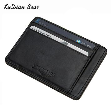 KUDIAN BEAR Leather Wallets Men Magic Wallets Designer Small Purse Rfid Card Holder Carteira Masculina-- BID142 PM15