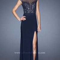 Floor Length Navy High Neck Gown