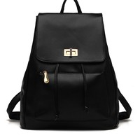 Lock Faux Leather Backpack