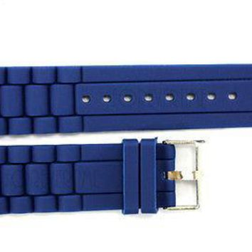 24mm Fits Fossil Navy Blue Silicon Rubber Watch BAND Strap