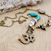 OM necklace with turquoise - yoga jewelry - yoga necklace - om pendant - aum ohm