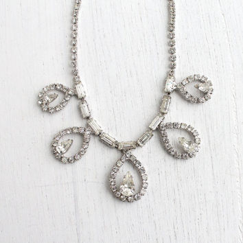 Vintage Faux Diamond Rhinestone Statement Necklace - Mid Century 1950s Silver Tone Clear Glass Costume Jewelry / Teardrops