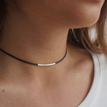 Single Leather Cord Choker, Black Choker Necklace, Dainty Choker Necklace, Black Necklace Dainty,Silver Gold Satellite Chain,Choker Necklace