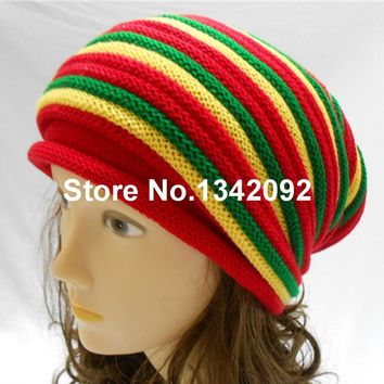 2015 New Fashion Gorro Rasta Beanie Hat Men Women Jamaica Bob Marley Slouch Baggy Winter Warm Skull Cap