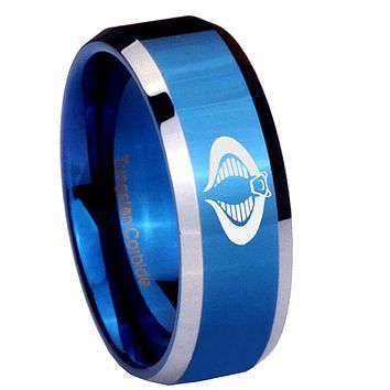 10mm Cobra Beveled Edges Blue 2 Tone Tungsten Carbide Wedding Bands Ring