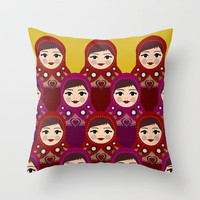 matryoshka dolls Throw Pillow by Sharon Turner | Society6