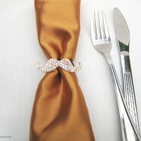 4 Pieces Bling Light Gold Mustache Napkin Rings Set. Crystal Mustache Napkin Holders. Sparkly Party Decor