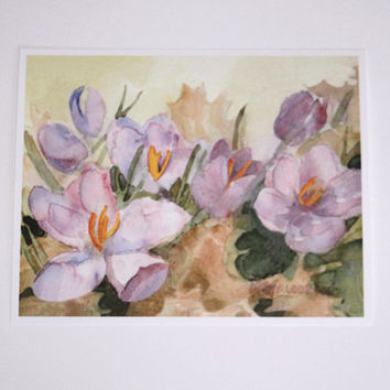 Crocus Picture Spring Flowers Watercolor Print Purple Crocuses Springtime Flower Watercolour Painting Home Office Wall Decor Gift for Her