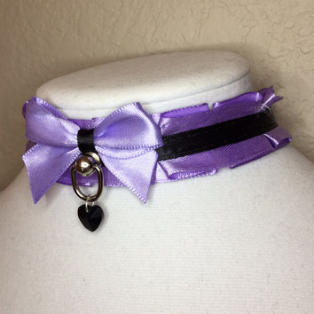 pastel purple and black pleated TUG PROOF kittenplay petplay collar with rectangle ball post and black crystal heart charm!
