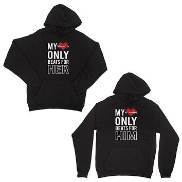 My Heart Beats For Her Him Black Cute Matching Couple Hoodies Gift